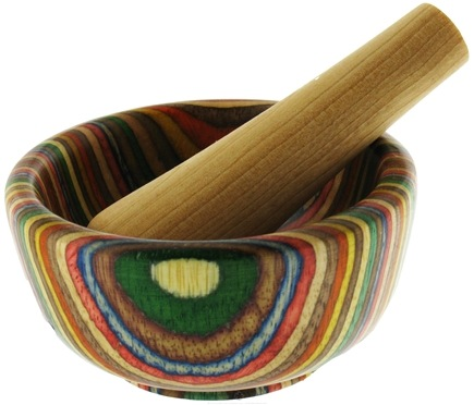 DROPPED: Harold Import - Mortar and Pestle Wood Round Rainbow - 3.5 in. CLEARANCE PRICED