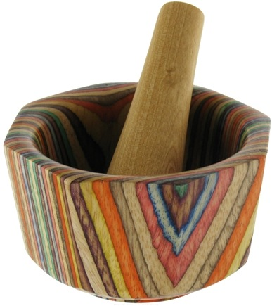 DROPPED: Harold Import - Mortar and Pestle Wood Octagonal Rainbow - 3.5 in. CLEARANCE PRICED