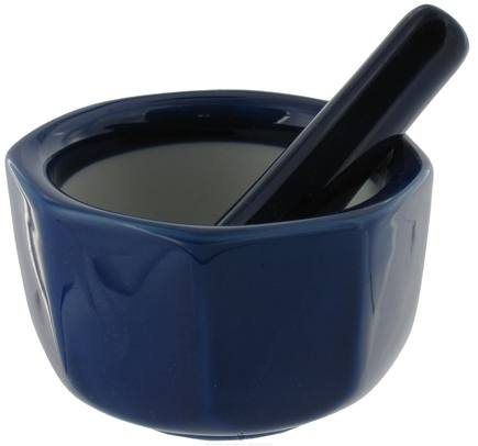 DROPPED: Harold Import - Mortar and Pestle Porcelain Octagonal Cobalt - 3.5 in. CLEARANCE PRICED