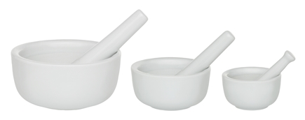 Harold Import - Mortar and Pestle Set of 3 Porcelain White