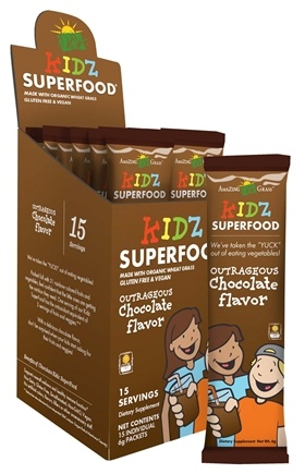 DROPPED: Amazing Grass - Kidz SuperFood Outrageous Chocolate Flavor Powder Packets - 15 Packet(s) CLEARANCE PRICED