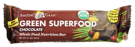 Amazing Grass - Green SuperFood Whole Food Energy Bar Chocolate - 2.1 oz.