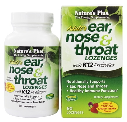 Nature's Plus - Adult's Ear Nose & Throat Lozenges With K12 Probiotics Natural Tropical Cherry Berry - 60 Lozenges