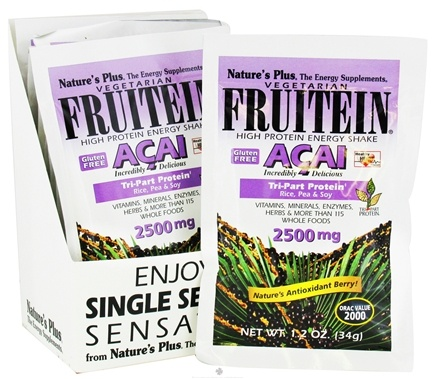DROPPED: Nature's Plus - Vegetarian Fruitein Acai High Protein Energy Shake 2500 mg. - 1 Packet CLEARANCE PRICED