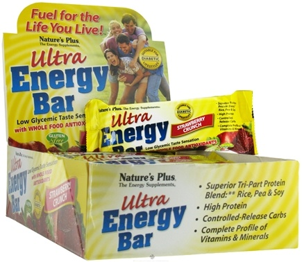 DROPPED: Nature's Plus - Ultra Energy Bar With Whole Food Antioxidants Strawberry Crunch - 2.1 oz.