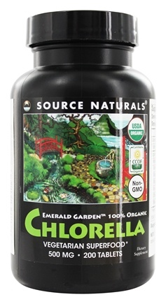 Source Naturals - Emerald Garden Organic Chlorella 500 mg. - 200 Tablets