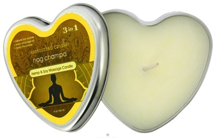DROPPED: Earthly Body - Suntouched Hemp & Soy 3 in 1 Massage Candle Nag Champa - 4 oz. CLEARANCE PRICED