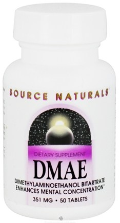 DROPPED: Source Naturals - DMAE Dimethylaminoethanol Bitartrate 351 mg. - 50 Tablets CLEARANCE PRICED