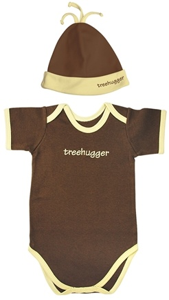 DROPPED: Green Sprouts - Small Footprints Organic Cotton Bodysuit/Hat Set Treehugger 3-6 Months Cocoa - WINTER SPECIAL