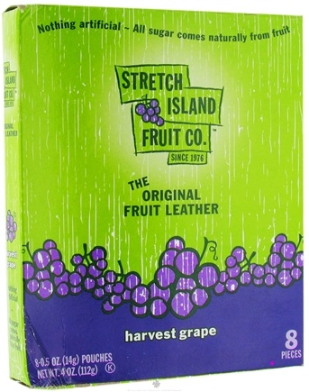 DROPPED: Stretch Island Fruit - Original Fruit Leather Harvest Grape,  8 x .5 oz. Pieces