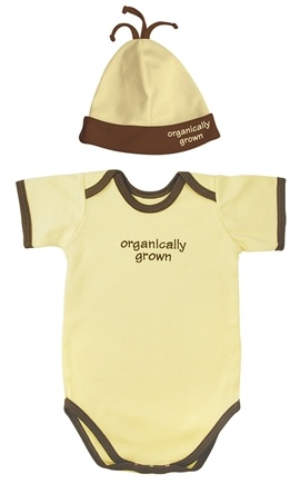DROPPED: Green Sprouts - Small Footprints Organic Cotton Bodysuit/Hat Set Organically Grown 3-6 Month Bamboo Yellow - 1 lbs. CLEARANCE PRICED