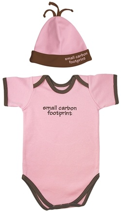 DROPPED: Green Sprouts - Small Footprints Bodysuit/Hat Set Small Carbon Footprint 3-6 Months Rose Pink