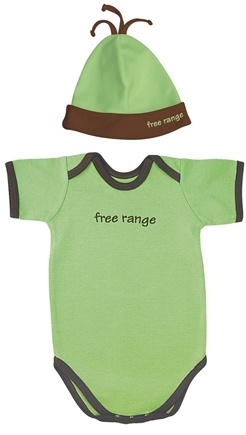 DROPPED: Green Sprouts - Small Footprints Organic Cotton Bodysuit/Hat Set Free Range 3-6 Months Sage Green - HOLIDAY PRICED
