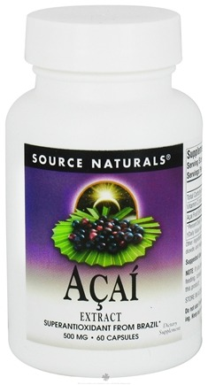 DROPPED: Source Naturals - Acai Extract Superantioxidant From Brazil 500 mg. - 60 Capsules CLEARANCED PRICED