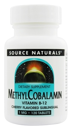 Source Naturals - MethylCobalamin Vitamin B-12 Sublingual Cherry 1 mg. - 120 Tablets