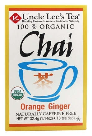 Uncle Lee's Tea - 100% Organic Chai Tea Caffeine Free Orange Ginger - 18 Tea Bags