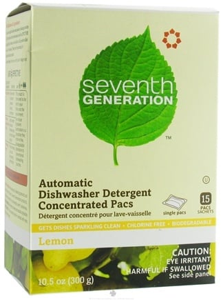 DROPPED: Seventh Generation - Automatic Dishwasher Detergent Concentrated Pacs Lemon - 10.5 oz.