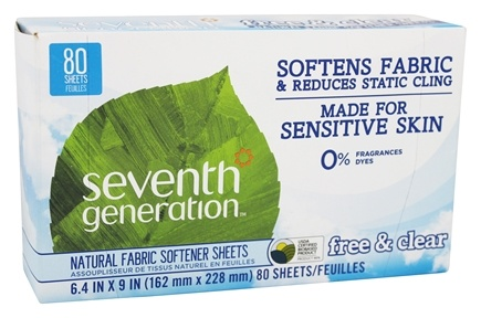 Seventh Generation - Natural Fabric Softener Sheets Free and Clear - 65 Sheet(s)