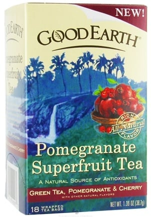 DROPPED: Good Earth Teas - Pomegranate Superfruit Tea Green Tea, Pomegranate & Cherry - 18 Tea Bags