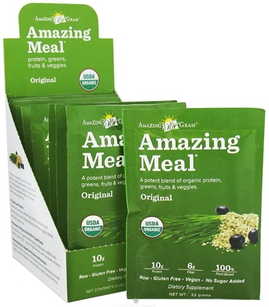 DROPPED: Amazing Grass - Amazing Meal Powder Packets Original Blend - 10 x 22g Packets