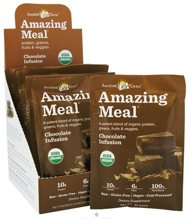 DROPPED: Amazing Grass - Amazing Meal Powder Packets Chocolate Infusion - 10 x 32g Packets/ CLEARANCE PRICED