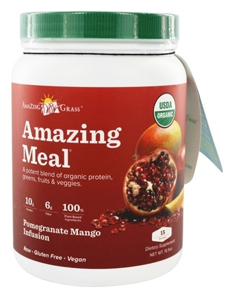 DROPPED: Amazing Grass - Amazing Meal Powder 15 Servings Pomegranate Mango Infusion - 15.5 oz.