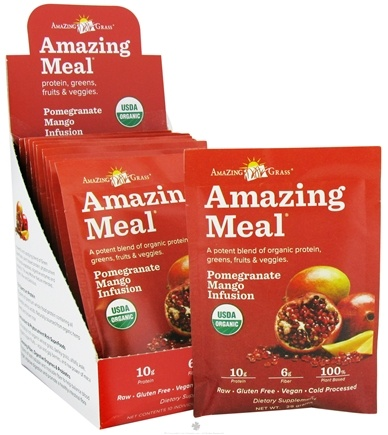 DROPPED: Amazing Grass - Amazing Meal Powder Packets Pomegranate Mango Infusion - 10 x 29g Packets CLEARANCE PRICED