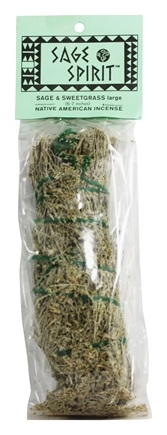 DROPPED: Sage Spirit - Smudge Wand Large Sage & Sweetgrass - 6 in.