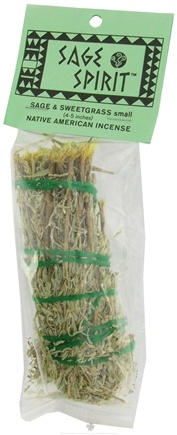 DROPPED: Sage Spirit - Smudge Wand Small Sage & Sweetgrass - 4 in. CLEARANCE PRICED