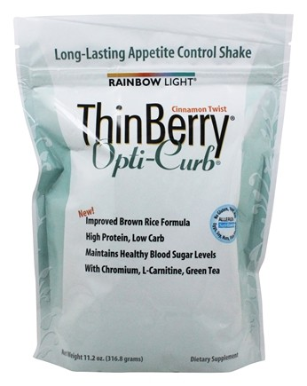 Rainbow Light - ThinBerry Opti-Curb Brown Rice Protein Formula with Svetol® Cinnamon Twist - 11.2 oz.
