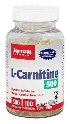 Jarrow Formulas - L-Carnitine Liquid Caps 500 mg. - 100 Vegetarian Capsules