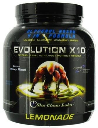 DROPPED: StarChem Labs - Evolution X10 Glycerol Intra/Post Workout Formula Lemonade - 1.28 lbs. CLEARANCE PRICED