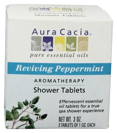 Aura Cacia - Aromatherapy Shower Tablets Reviving Peppermint - 3 oz.