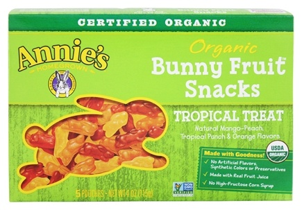 DROPPED: Annie's Homegrown - Organic Bunny Fruit Snacks Tropical Treat - 4 oz. CLEARANCE PRICED