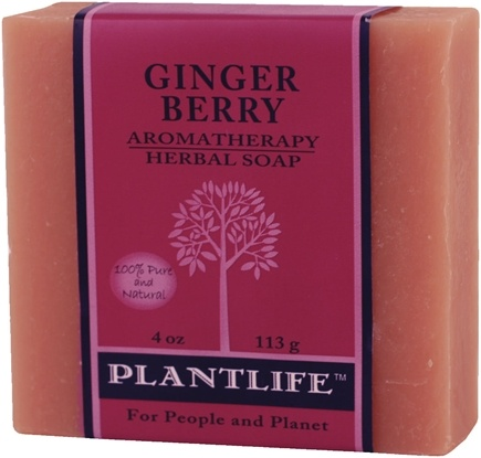 DROPPED: Plantlife Natural Body Care - Aromatherapy Herbal Soap Ginger Berry - 4 oz. CLEARANCE PRICED