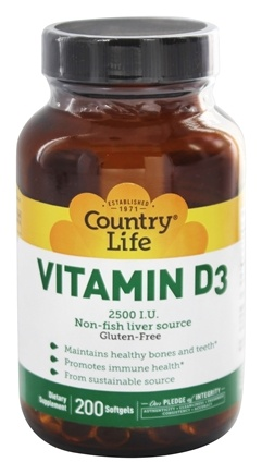 Country Life - Vitamin D3 2500 IU - 200 Softgels