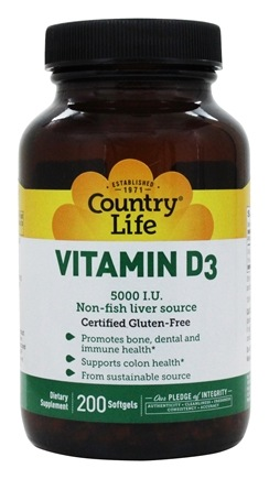 Country Life - Vitamin D3 5000 IU - 200 Softgels