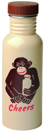DROPPED: Blue Q - Get Real Cheers Monkey Stainless Steel Water Bottle - 20 oz. CLEARANCE PRICED