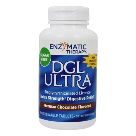 Enzymatic Therapy - DGL Ultra Sugar Free German Chocolate Flavored - 90 Chewable Tablets