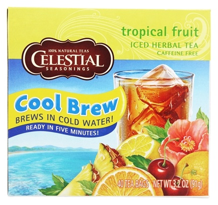 Celestial Seasonings - Cool Brew Tropical Fruit Iced Herbal Tea Caffeine Free - 40 Tea Bags