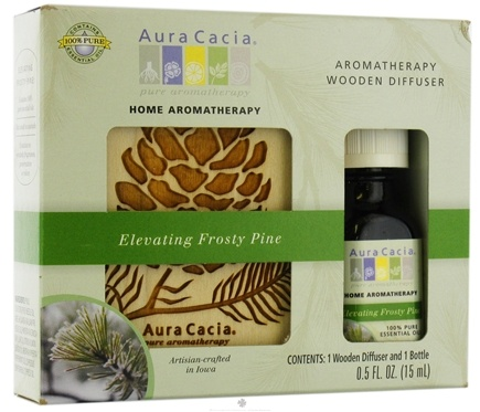 DROPPED: Aura Cacia - Aromatherapy Wooden Diffuser Elevating Frosty Pine - 0.5 oz.