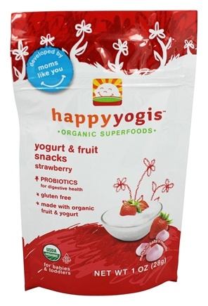 HappyBaby - HappyYogis Organic Superfoods Yogurt and Fruit Snacks Strawberry - 1 oz. (formerly HappyMelts Organic Yogurt Snacks)