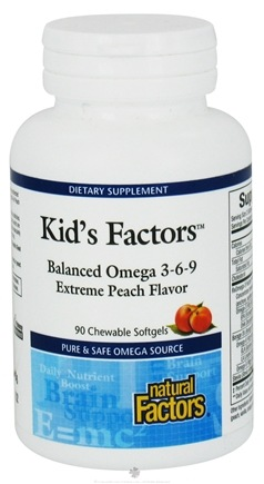 DROPPED: Natural Factors - Kid's Factors Balanced Omega 3-6-9 - 90 Chewable Softgels Formerly Learning Factors