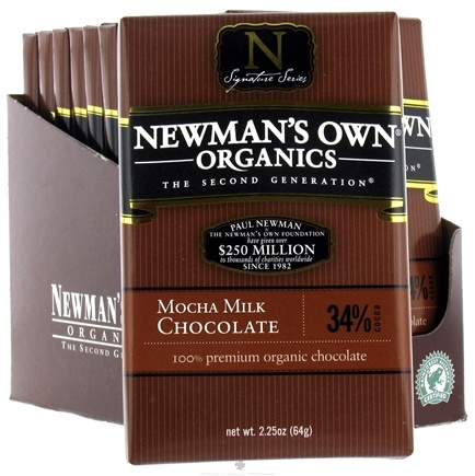 DROPPED: Newman's Own Organics - Chocolate Bar 34% Mocha Milk - 2.25 oz. CLEARANCE PRICED