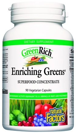 DROPPED: Natural Factors - GreenRich Enriching Greens Superfood Concentrate - 90 Vegetarian Capsules CLEARANCE PRICED