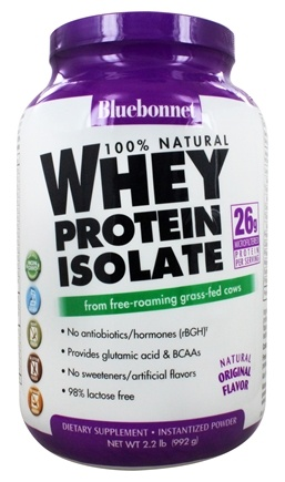 Bluebonnet Nutrition - 100% Natural Whey Protein Isolate Powder Natural Original Flavor - 2.2 lbs.
