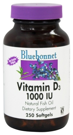 Bluebonnet Nutrition - Vitamin D3 1000 IU - 250 Softgels