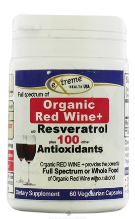 DROPPED: Extreme Health USA - Organic Red Wine with Resveratrol - 60 Vegetarian Capsules CLEARANCE PRICED