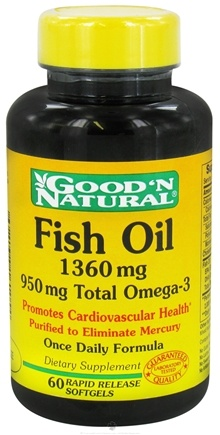 DROPPED: Good 'N Natural - Fish Oil with 950 mg. Total Omega-3 Once Daily Formula 1360 mg. - 60 Softgels Rapid Release