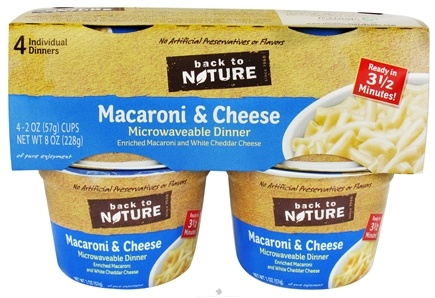 DROPPED: Back To Nature - Macaroni & Cheese Microwavable Dinner 4 Pack - 8 oz. CLEARANCE PRICED